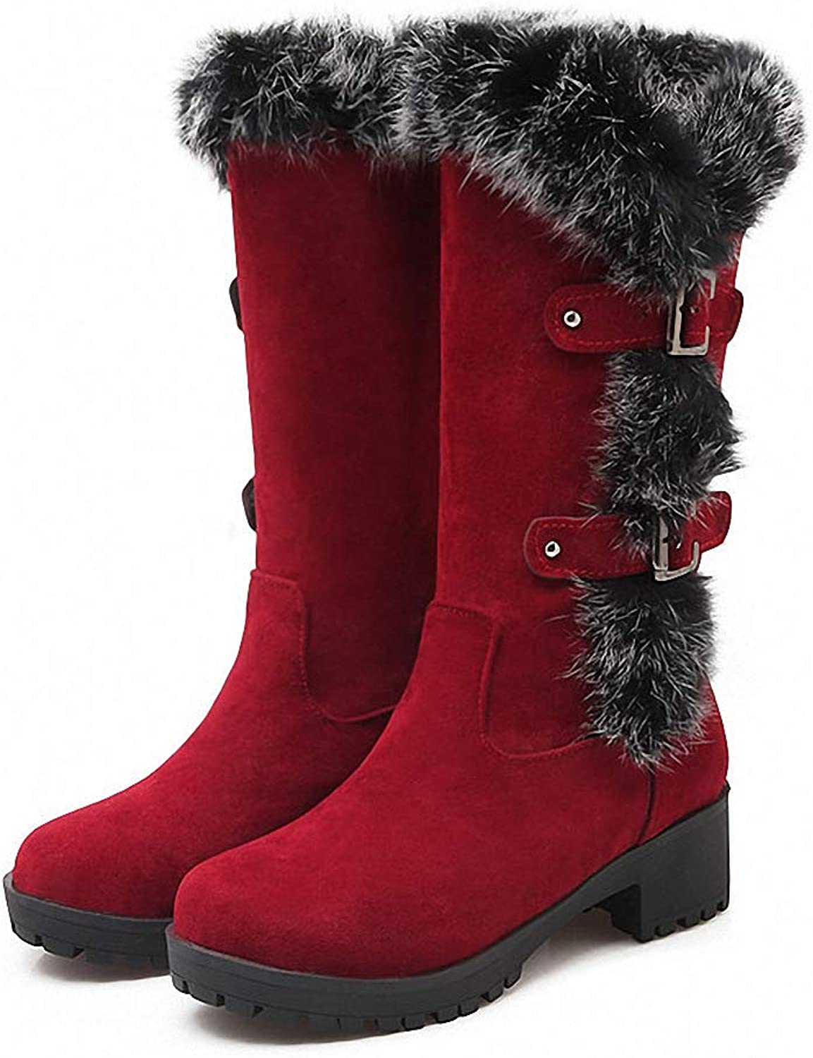 Kyle Walsh Pa Women Classic Boots Warm Fur Non-Slip Square Heels Platform Mid-Calfs Ladies Winter Trendy shoes