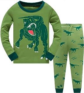 Conjunto de pijama para niños 100% algodón brillante en la oscuridad dinosaurio Pjs ropa de dormir de manga larga para niñ...