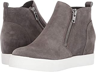 Ermonn Womens Platform Wedge Sneakers Fahion Perforated High Top Side Zipper Ankle Booties