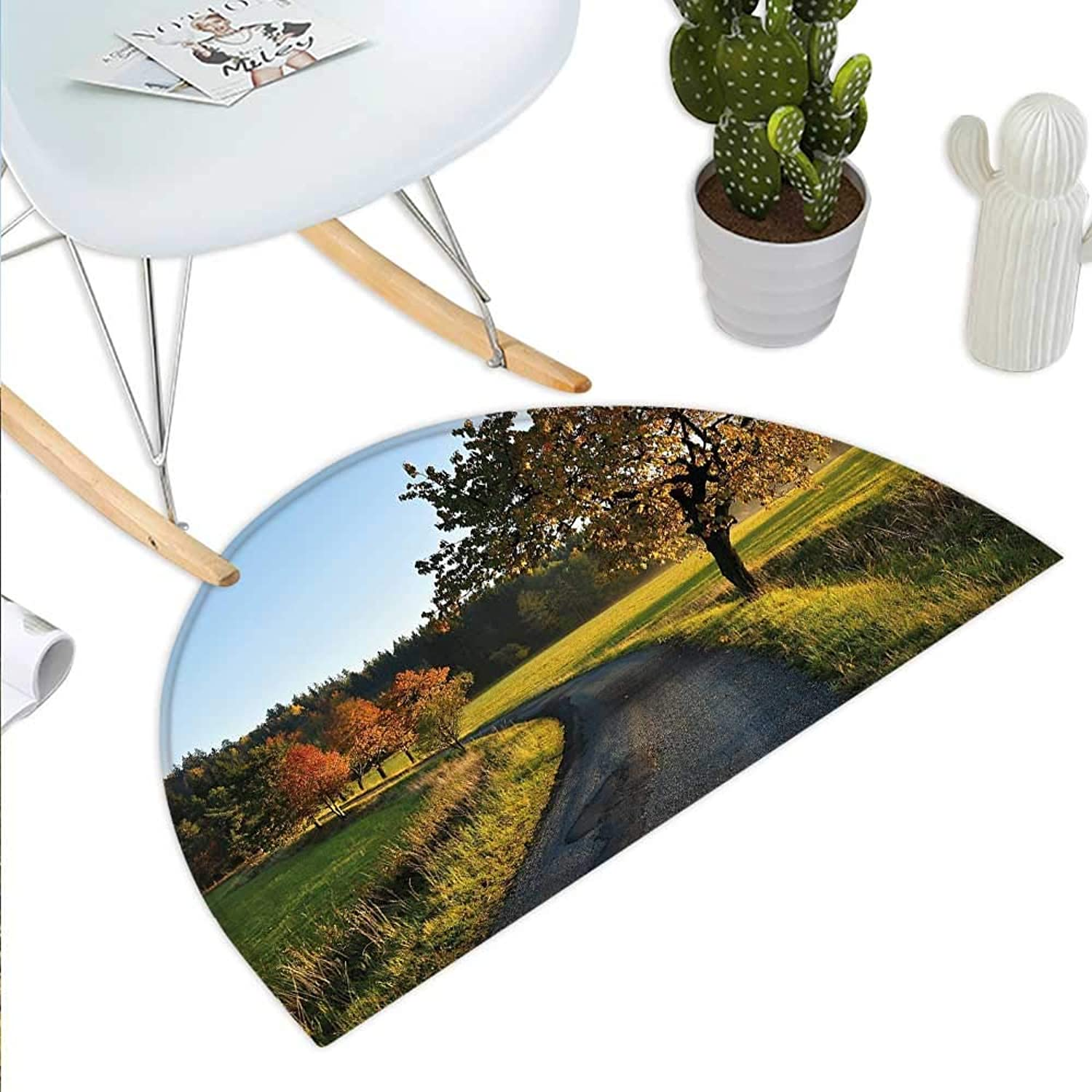 Landscape Semicircle Doormat Autumn Road at Sunset and Lone Tree Grass Field Forest Rural Scenery Halfmoon doormats H 43.3  xD 64.9  Green Yellow blueegrey