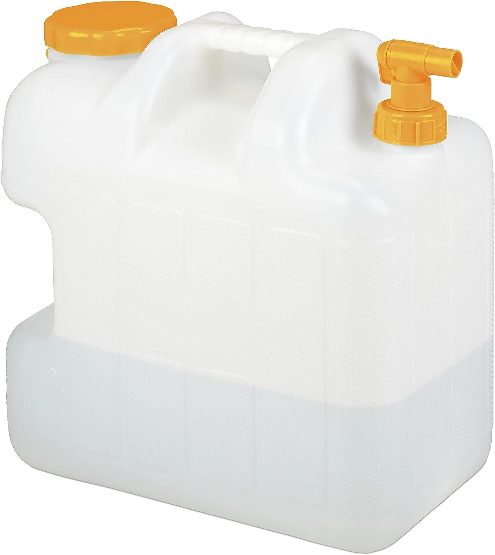 Relaxdays Garrafa con Grifo, 25 litros, Plástico sin BPA, Tapón Cuello Ancho, Asa, Bidón Acampada, Blanco y Naranja