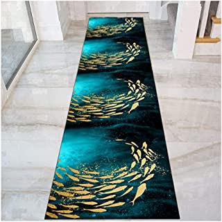 Non Slip Runner Rug for Hallway, 3D Golden Fish Pattern Entryway Carpet, Floor Mat for Corridor Kitchen Bedroom Entrance, ...