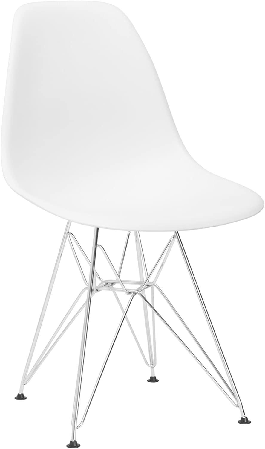 Poly and Bark Eames Style Molded Plastic Eiffel Side Chair, White