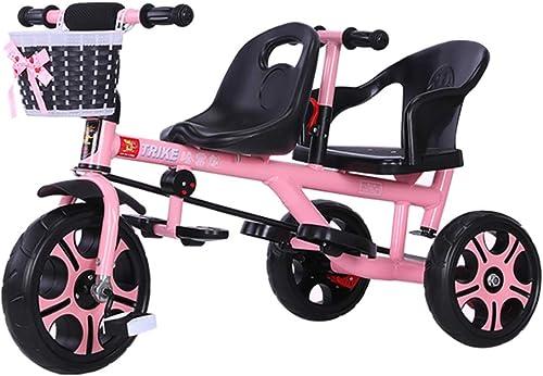 Bébé GUO@ Tricycle Double pour Enfants Tricycle Double pour Enfants avec Frein arrière, Roue antidéflagrante