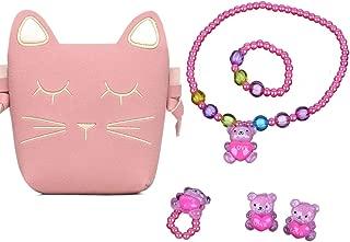 Little Girls Pink Cute Cat Crossbody Bag Necklace Earrings Ring Bracelet for Kids Toddler Halloween