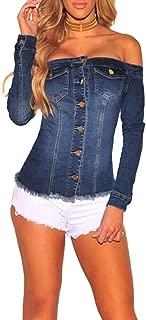 Women's Long Sleeve Off Shoulder Pockets Button Down Blouse Denim Jacket