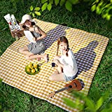 LZYMSZ Outdoor & Picnic Blanket Mat(1.95m2m/6.39ft6.56ft) Sand Proof and Waterproof Portable Beach Mat for Camping Hiking Festivals(Yellow)