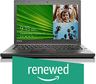 (Renewed) Lenovo Thinkpad T450 14-inch Laptop (5th Gen Core i5 5300U/8GB/256GB SSD/Windows 10/Integrated Graphics), Black