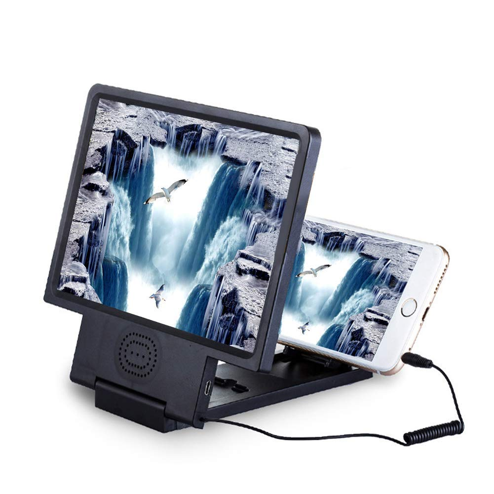 XIAOYU Pantalla del teléfono móvil Lupa 3D Lupa de Aumento Holder 3D móvil para Smartphones vídeo Plegable de Pantalla para Lupa para Smartphone y (Negro): Amazon.es: Electrónica