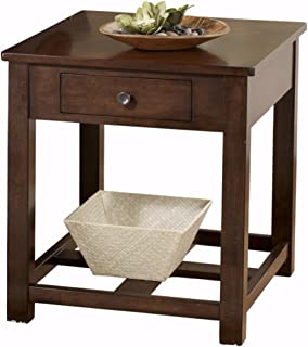 Ashley Furniture Signature Design - Marion Rectangular End Table - 1 Drawer - Contemporary - Dark Brown