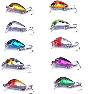 aorace 10pcs/lot Mini Fishing Lures 10 Colors Fishing Bait 2.6cm/1.6g Fishing Tackle #10..