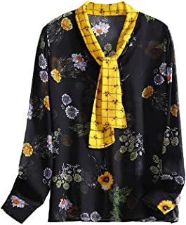 SIXIULIYU 100% Silk Chiffon Shirts Floral Printed Women Long Sleeve Shirt New