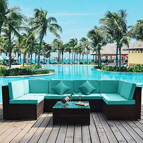 7PCS Patio Furniture Set, All-Weather PE Rattan Sectional Garden Furniture Corner Sofa Set w/Glass Coffee Table for Backyard, Pool (Blue Cushion)