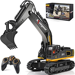 kolegend Remote Control Excavator Toy Truck, 1/18 Scale RC Excavator Construction Vehicles for Boys Girls Kids RC Tractor with Lights Rechargeable Battery