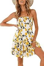 Zonsaoja Women's Strapless Dress Mini Floral Print Summer Tube Top Dresses Beach