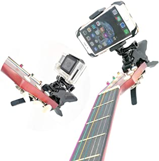 Combo Camera and Cell Phone Music Mount - Ukelele Guitar Headstock Mobile Phone Clamp Clip Mount for Smartphones and Gopro Action Cameras ~ Close Up Home Recording - Work for Any Microphone Stands