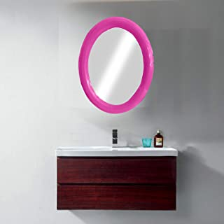 Majik Newest Arrival Oval Shape Vanity Wall Mirror For Bathroom Wash Basin Bedroom Living Room Area Home Décor Mirrors 20 Grams Pack Of 1 (Pink)