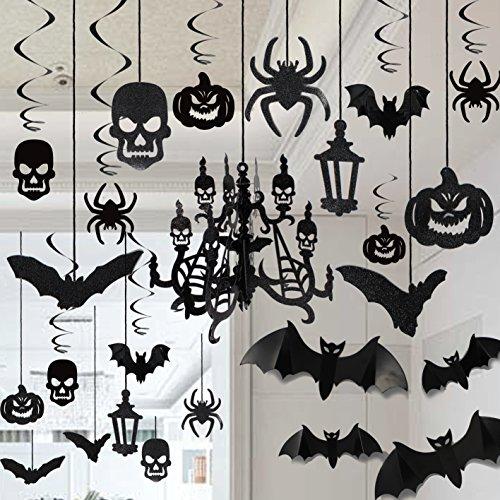 Decoración de Halloween Colgantes Techo Decoración de Araña Murciélago Araña Cráneo para Halloween Fiesta