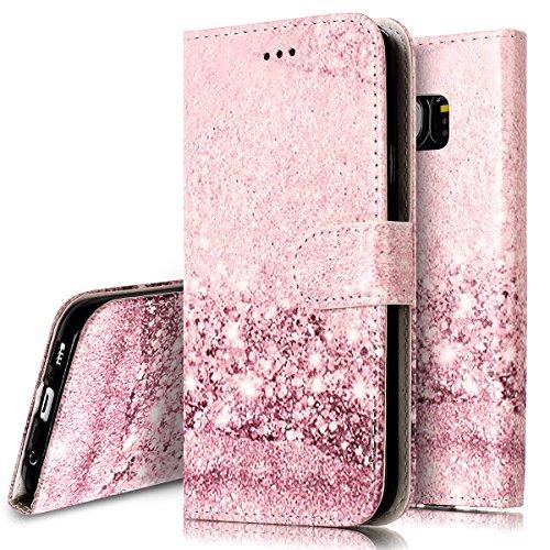 Custodia Cover per Samsung Galaxy S7 edge Samsung G935,Ukayfe Protettiva Flip Portafoglio Copertura Custodia con Super Sottile TPU Interno Case e Porta carte di credito in PU pelle-Oro rosa