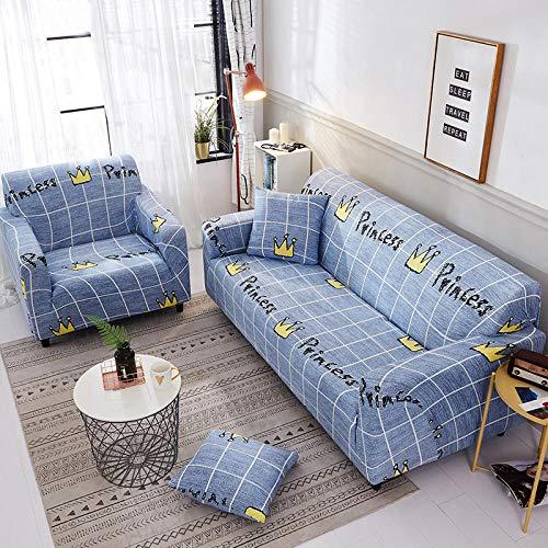 Funda Elástica de Sofá Cubre Antideslizante/Protector Ajustables de Sofá, Decorativas Fundas Tela Escocesa Azul Impresa -para Sofas, con Cuerda de Fijación (1 Plazas:90-140cm)+1 Fundas de Almohada