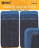 Premium Iron On Patches Denim Repair Kit for Clothes Jeans, Jacket - Super Strongest (Upgrade Adhesive 0.12) Fabric Patches Iron-On Black, Navy Blue with 8 Idea Size + Bonus 4 Custom Size - 4 Color