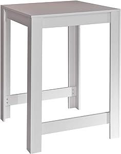 CURRY Table-bar de 2 a 4 personnes style contemporain mélaminé blanc mat - L 80 x L 70 cm