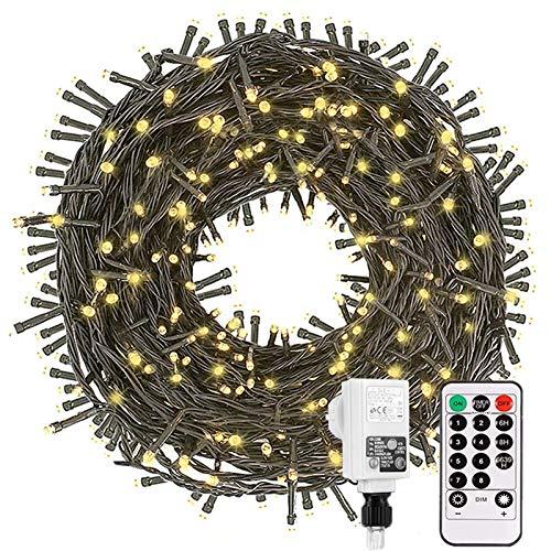 Led Lichterkette Strom 30M 300 LED mit Fernbedienung Timer Merkfunktion Lichterkette Steckdose IP65 Wasserdicht für Innen und Außen,Niederspannung, Warmweiß Lichterkette für Party, Weihnachten, Garten
