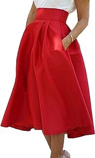 173357433 Amazon.es: Faldas Con Bolsillos - Rojo