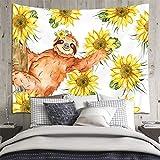 Divertido tapiz de girasoles de perezoso, animales lindos y acuarela, tapices de plantas florales amarillas para dormitorio, sala de estar, dormitorio para adolescentes, cartel de decoración indie,