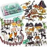 TOEY PLAY 3 en 1 Mini Animales de Juguete 56 Piezas, Dinosaurios Granja Salvajes Animale Figuras Juguetes, Educativo Regalo Niños Niñas 3 4 5 6 Años