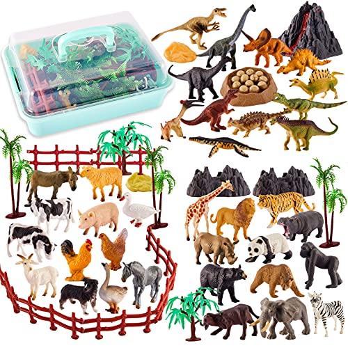 TOEY PLAY 3 en 1 Mini Animales de Juguete con Dinosaurios, 56 Piezas Figuras Juguete Animales Salvajes Granja, Educativo Regalo Niños Niñas 3 4 5 6 Años