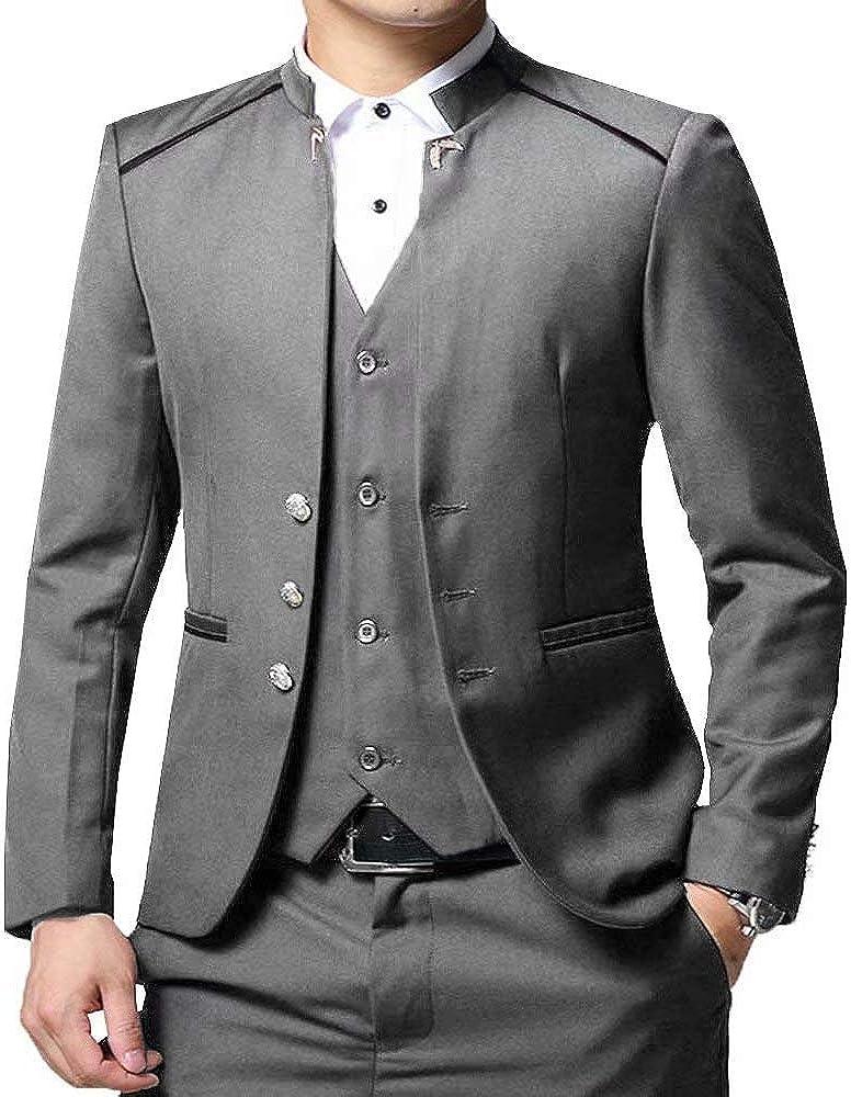 RONGKIM Men's Slim Fit 3 Piece Set Suit Wedding Male Stand-up Collar Trend Blazer Coats