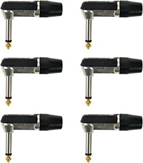 """Geesatis 6 Pcs Right Angle Plug 6.35mm 1/4"""" Audio Plugs Male Plug Connector Guitar Cables Microphone Cables"""