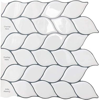 BEW Peel and Stick Backsplash Tile, 3D Waterproof Heat Resistant Oil-Proof Vinyl Stick on Tiles, DIY Adhesive Backsplash for