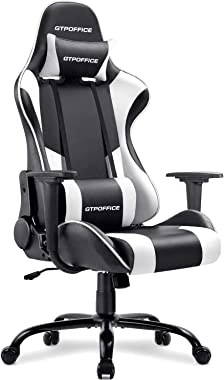 Gtpoffice Gaming Chair Massage Office Computer Chair for Adult Reclining Adjustable Swivel Leather Computer Chair High Back D