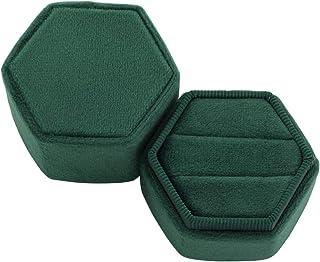 Koyal Wholesale Hexagon Velvet Ring Box, Emerald Green Holds 2 Wedding Rings with Cushion Vintage Wedding Ceremony Ring Bo...
