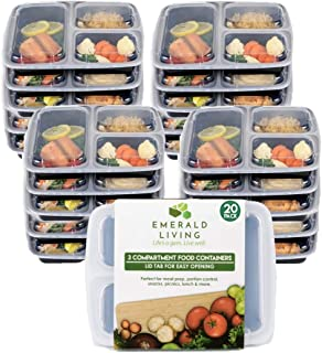 20 Pack Emerald Living 3 Compartment BPA Free Meal Prep Containers. Reusable Plastic Food Containers with Lids. Bento Lunch Box Set + EBook. 32 oz