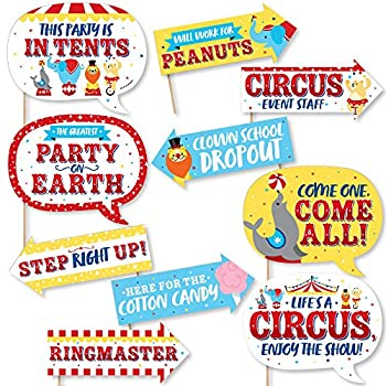 Big Dot of Happiness Funny Carnival - Step Right Up Circus - Carnival Themed Photo Booth Props Kit - 10 Piece