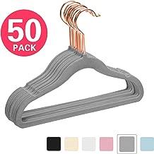 MIZGI Premium Kids Velvet Hangers (Pack of 50) with Copper/Rose Gold Hooks,Space Saving Ultra Thin,Non Slip Hangers use for Children's Skirt Dress Pants,Clothes Hangers by (Gray)