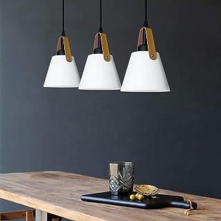Lámpara colgante Lámpara de comedor de plástico blanco vintage de 3 llamas con portalámparas E27 en apariencia de metal Lá...