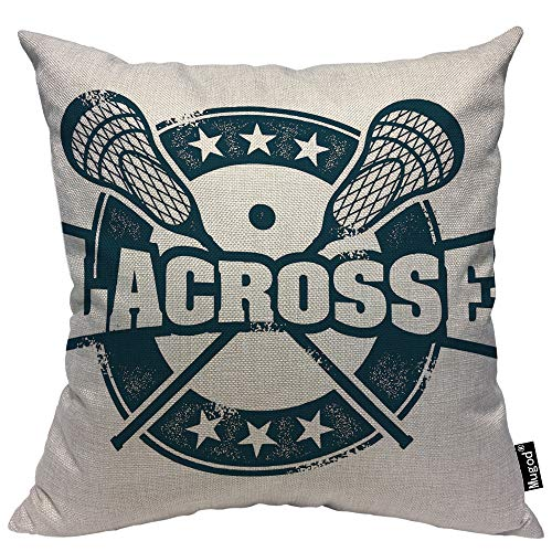 Mugod Lacrosse Throw Pillow Vintage Stamp Pattern Helmet Lacrosse Sticks Star Navy Blue Cotton Linen...