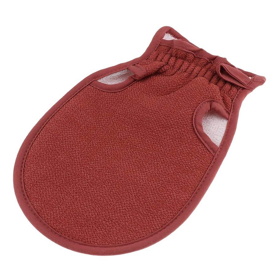 アレイバイオレット物語Fenteer 浴用手袋 お風呂用手袋 タオル 垢すり 角質除去 バス用品 洗える 再利用可能 全4色 - コーヒー