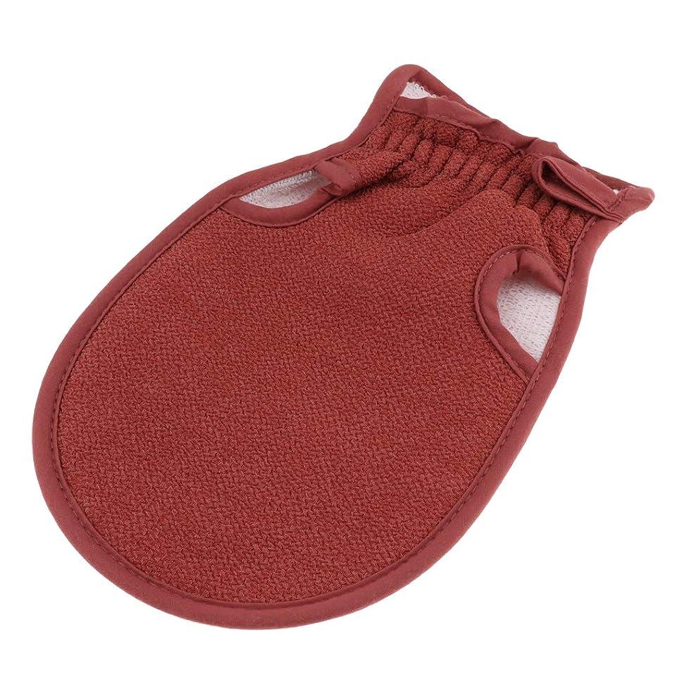 瞑想するのために植物のgazechimp 全4色 浴用手袋 ボディタオル 垢すり手袋 バス用品 両面デザイン 毛穴清潔 角質除去 男女兼用 - コーヒー