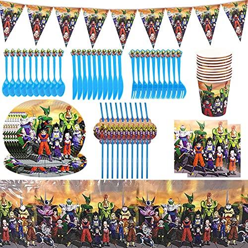 Juego de Cubiertos Reutilizable,BESTZY 82Piezas Dragon Ball de Accesorios de Fiesta Reutilizable Accesorio de Decoracion de Fiesta de Cumpleaños Apoyo para Pancarta Vajilla para Party Supplies