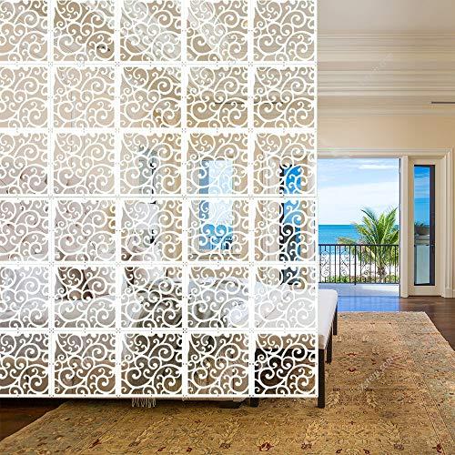 Yizunnu - Juego de 12 paneles separadores de ambientes colgantes de madera, paneles de plástico, para salón, comedor, estudio y sala de estar, hotel, bar, decoración de 29 x 29 cm