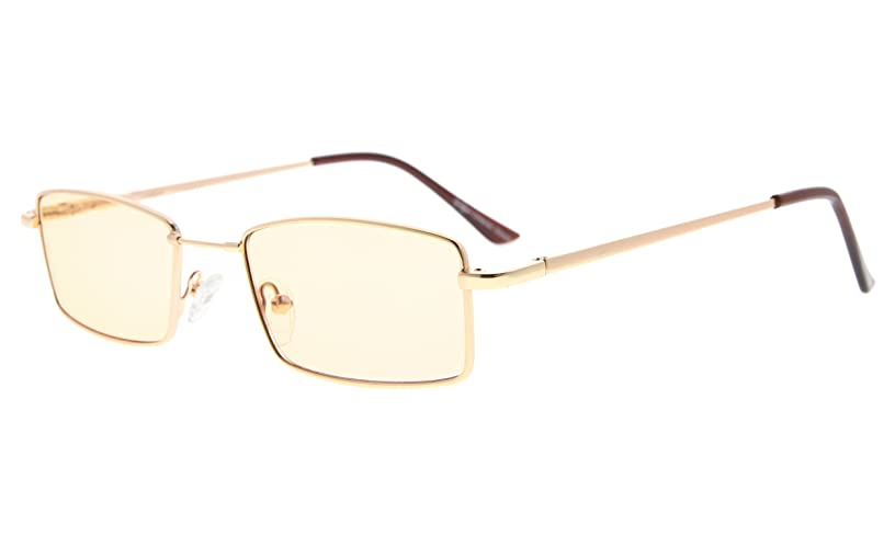 Eyekepper Memory Titanium Bridge Computer Glasses 50% Blue Light Blocking Reading Glasses Amber Tinted Lenses (Gold,+2.50)