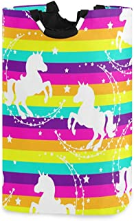 CFAUIRY Collapsible Laundry Basket with Handle Unicorn Rainbow Portable Foldable Laundry Hamper Holder Cloth Hamper