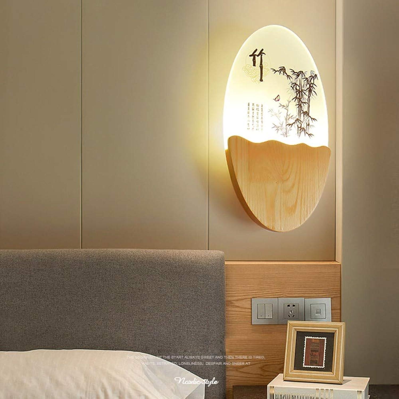 Kreative Wand Led Holz oval Wandleuchte moderne Wohnzimmer Flur Schlafzimmer Nachttischlampen, B