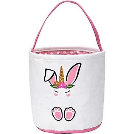 Pink Easter Bunny Basket for Kids Canvas Tote Bags Buckets for Easter Eggs