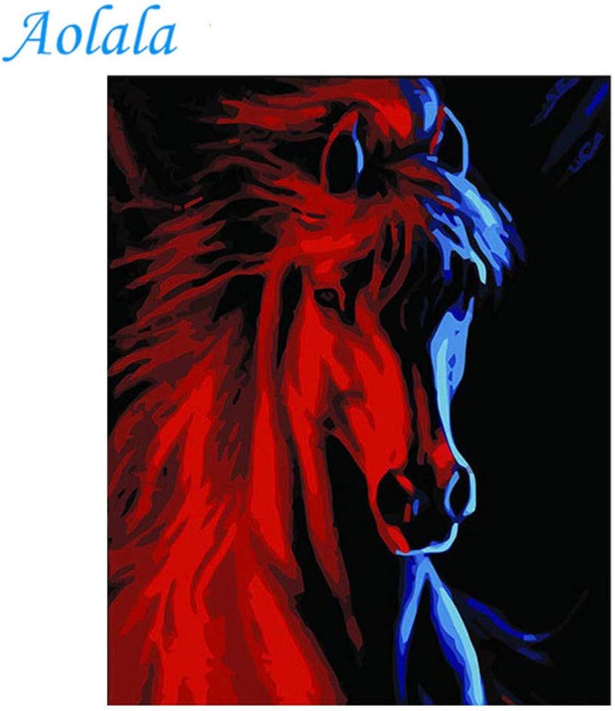 Aolala Animals rot Run Pferde DIY Ölgemälde nach Zahlen Kits Farbtöne nach Zahlen Einzigartiges Geschenk Malen nach Zahlenwandgrafik,60X75cm B07MCJC1X5   Rich-pünktliche Lieferung